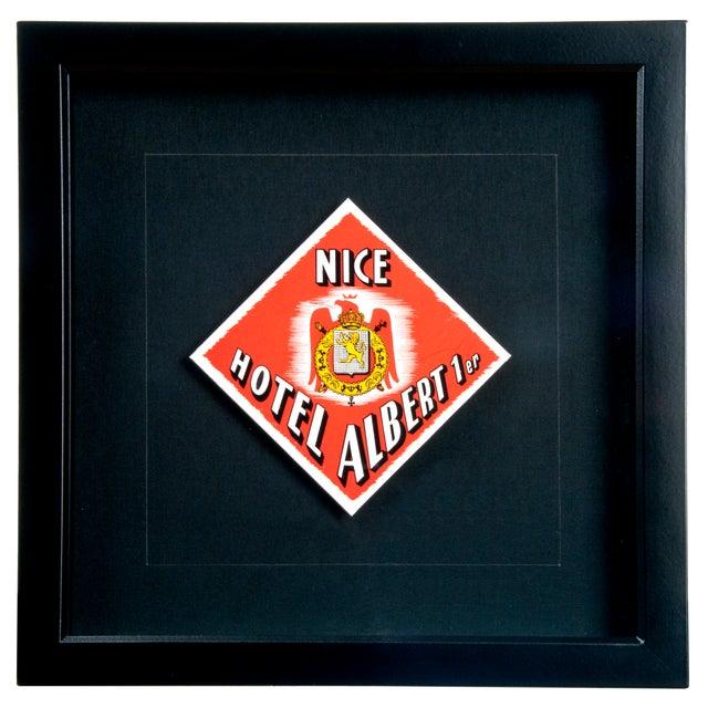 Image of Vintage Framed French Albert Hotel Luggage Label