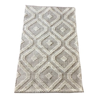 Handwoven Indian Medallion Rug in Warm Gray - 2′3″ × 3′9″