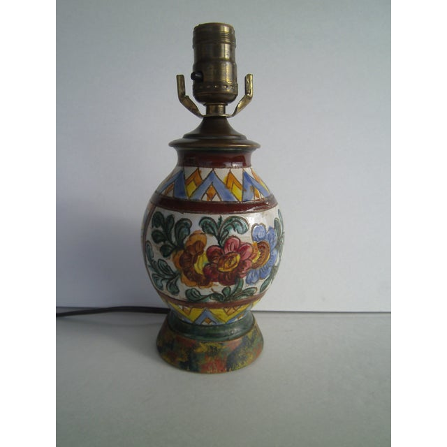 Image of Early 20th Century Italian Pottery Lamp