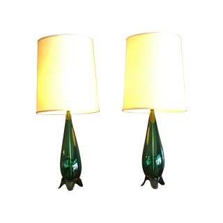 Green Mid-Century Modern Lamps - A Pair