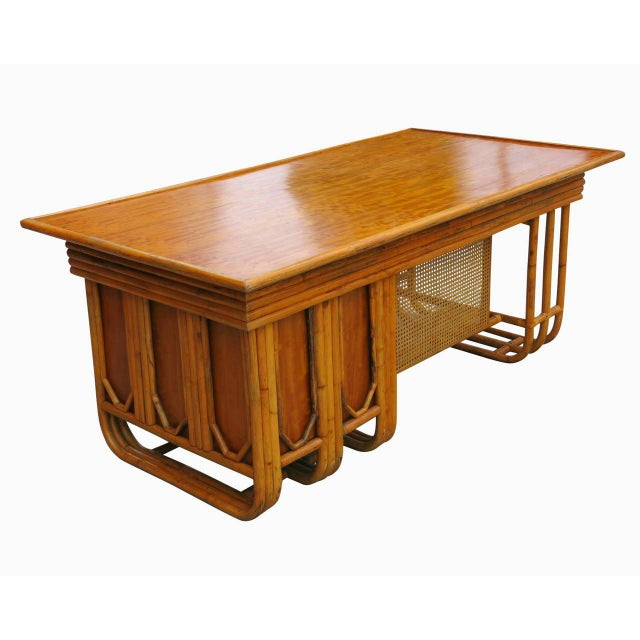 Restored Large Jean Royère Style Streamline Rattan Executive Desk - Image 4 of 8