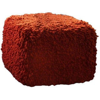 Calypso Orange Lambswool Ottoman