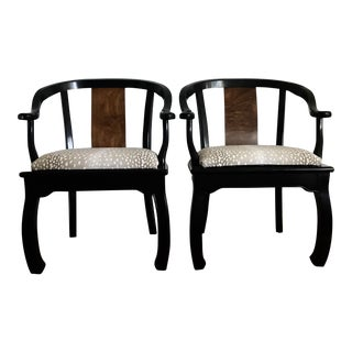 Bernhardt Lacquered Ming Chairs Burl Wood - a Pair