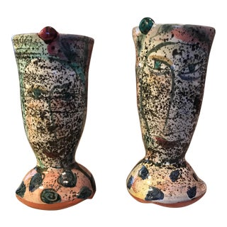 Funky Hand Thrown Pottery Drinking Vessels - A Pair