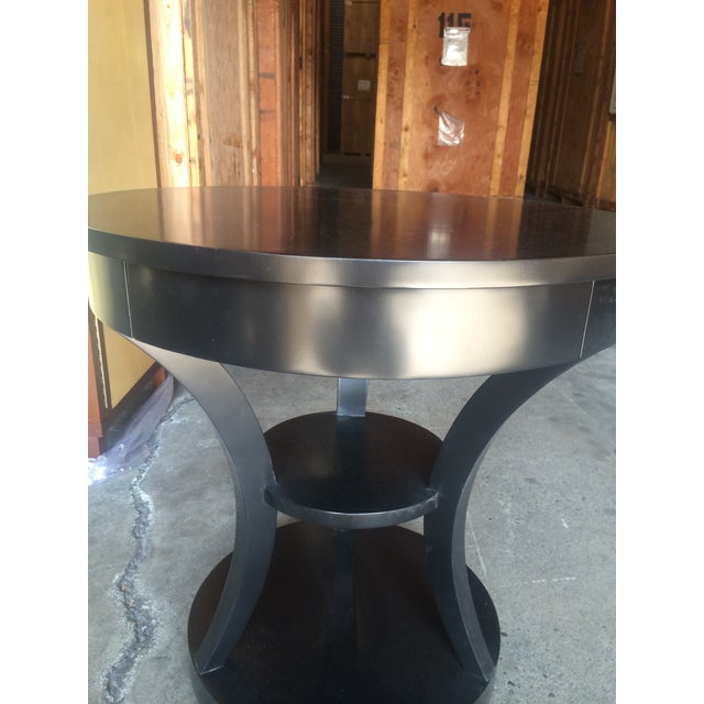 Round Black Lacquered Side Table - Image 2 of 6