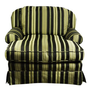 Green, Black, & Gold Striped Lounge Chair