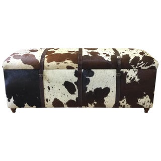 Black & White Hair on Hide Rectangular Storage Bench