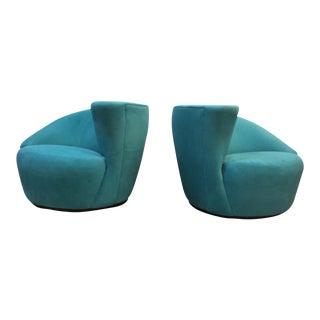 Modern Directional Vladimir Kagan Nautilus Chairs - A Pair