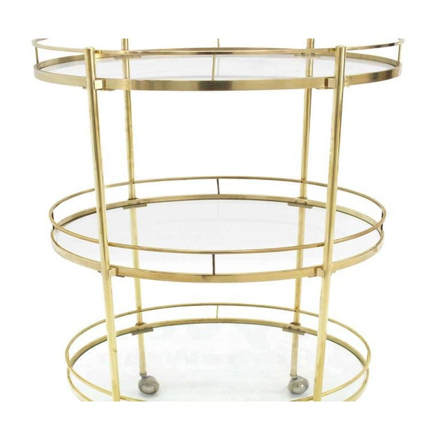 Three-Tier Brass Oval Tea Serving Cart - Image 6 of 8