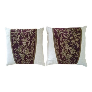 Turkish Theatrical Stump Work Pillows - A Pair