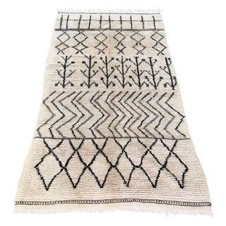 "Vintage Moroccan White Berber Rug - 4'5"" x 8'7"""