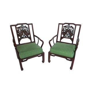 Early 20th Century Chinese Rosewood Armchairs - A Pair
