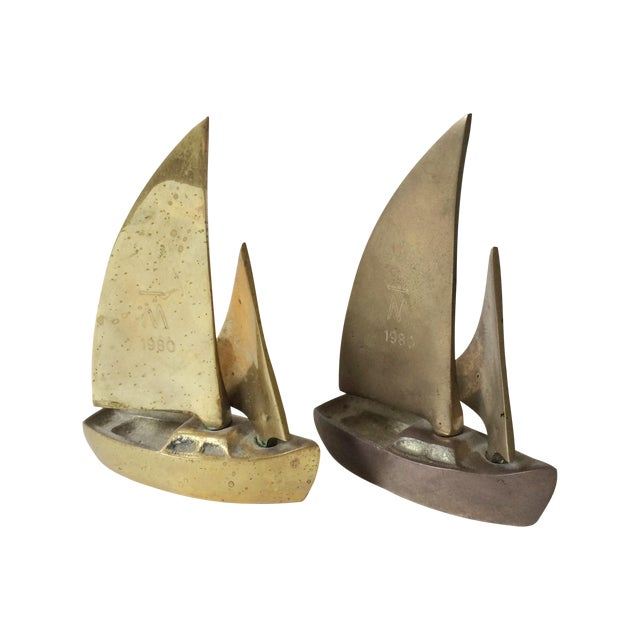 Mid-Century Brass Sailboat Figurines - A Pair - Image 1 of 6