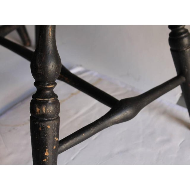 Set of Four 18th Century Black Painted Brace Back Windsor Chairs - Image 8 of 10
