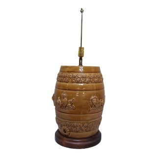 English Stoneware Spirit Barrel Lamp