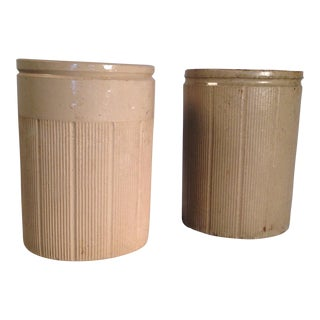Vintage English Crock Storage Jars - a Pair