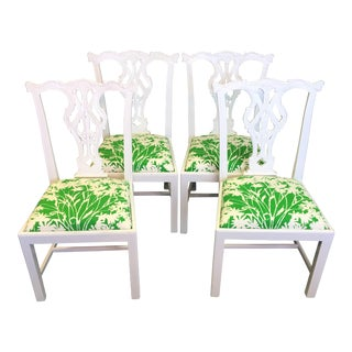 Vintage 1960's Hand Blocked Green Fabric Chippendale Chairs - Set of 4
