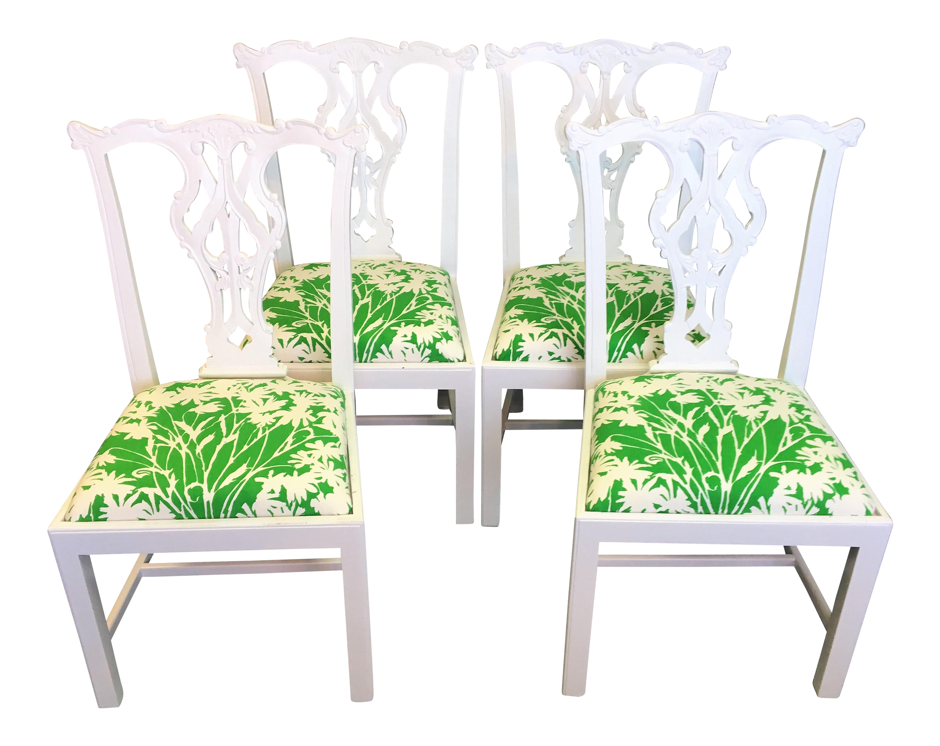 Vintage 1960u0027s Hand Blocked Green Fabric Chippendale Chairs   Set ...