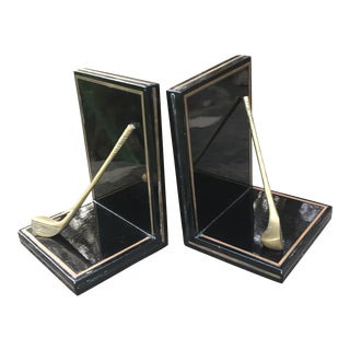 Black & Brass Golf Club Bookends - A Pair
