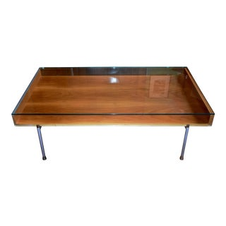 Modern Walnut & Glass Coffee Table