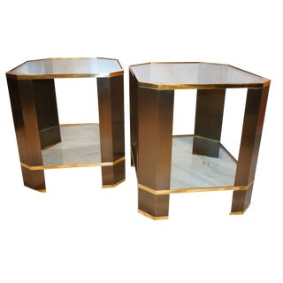 Mastercraft Mid-Century Brass & Brushed Steel Side Tables - A Pair