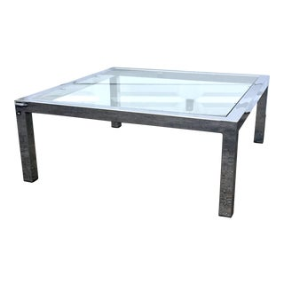 Mid-Century Modern Chrome & Glass Coffee Table