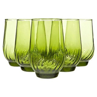 1960s Green Juice Glasses - Set of 6