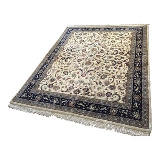 Ivory and Blue Area Rug