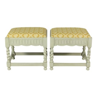 French Painted Benches - A Pair