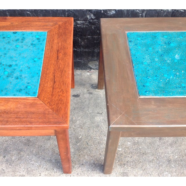 Mid-Century Brown Saltman Side Tables - A Pair - Image 7 of 7