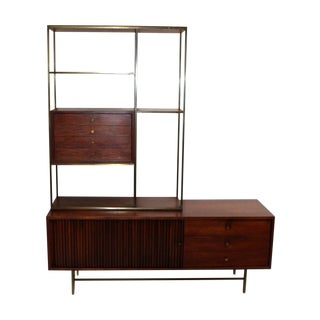 Paul McCobb Brass and Walnut Room Divider