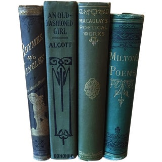 Early 20th C. Decorative Green Books -Set of 4