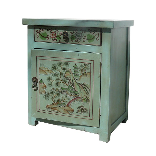 Oriental Pastel Blue Side Table/Nightstand - Image 2 of 5