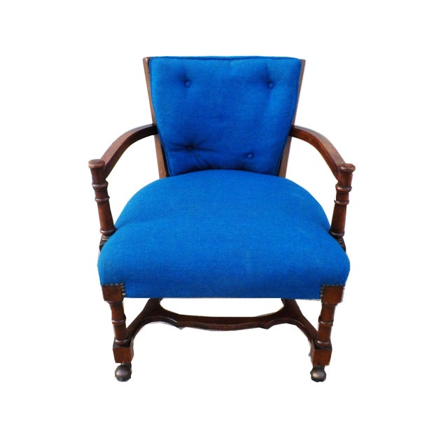 Hollywood Regency Wood Desk Chair with Caning - Image 6 of 6