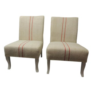 Vintage French Slipper Chairs - Pair