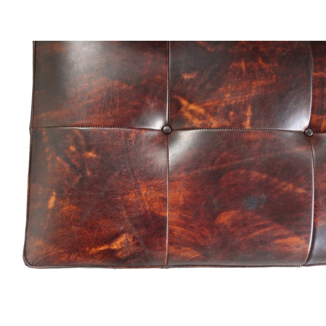 Image of Custom Brown Leather Tufted Ottoman