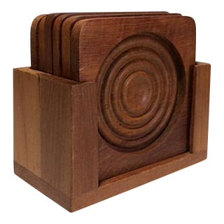 Vintage Teak Winsome Wood Coasters & Caddy - Set of 7
