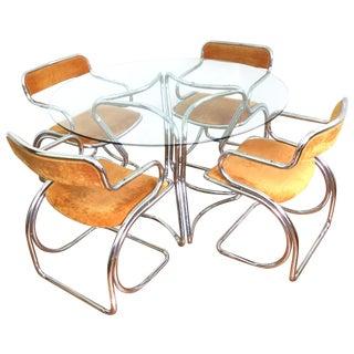 Mid-Century Chrome & Glass Dining Set