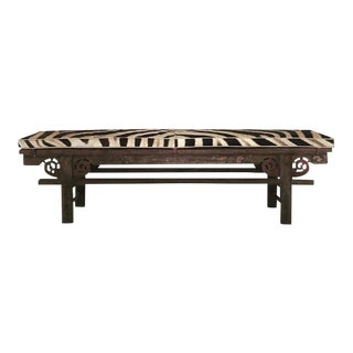 Forsyth One of a Kind Vintage Chinese Painted Farmhouse Bench with Custom Zebra Hide Cushion - No. 2