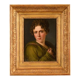 Antique Female Portrait Oil Painting by Francois Pascal Gerard