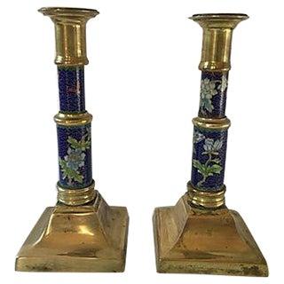 Cloisonné & Brass Candleholders