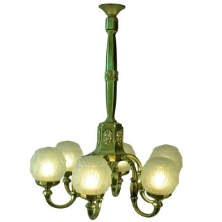 Early Art Deco Brass Chandelier with Frosted Globe Shade