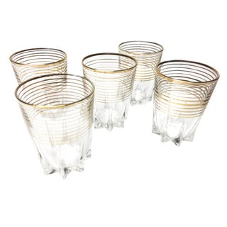 Gold Striped French Tumblers - Set of 5