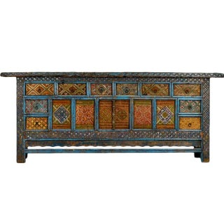Large Chinese Xin Jiang Hand Carved Elaborately Painted Sideboard Cabinet