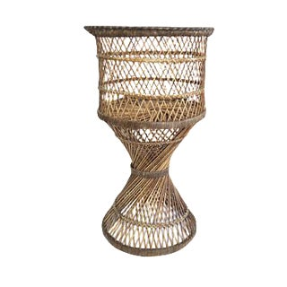 Vintage Natural Rattan Round Tall Pedestal Planter Plant Stand Holder