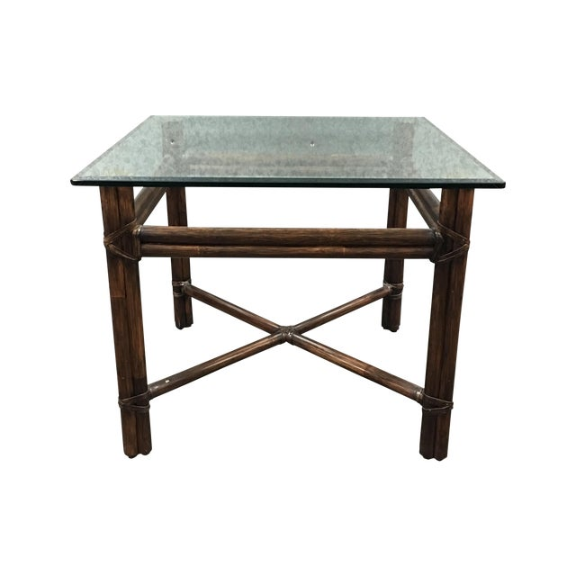 McGuire Bamboo & Glass Side Table - Image 1 of 6