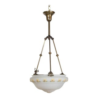 19th Century Yellow Floral Glass Bowl Pendant Light Fixture