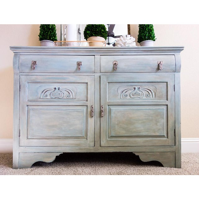 hand painted creamy blue green antique sideboard chairish. Black Bedroom Furniture Sets. Home Design Ideas