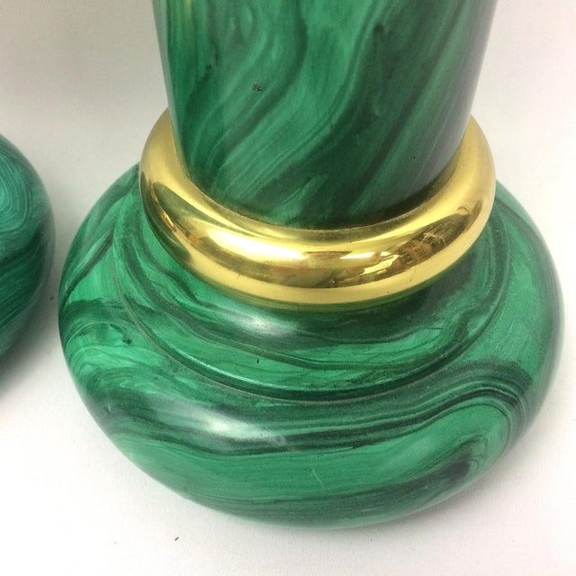 Image of Vintage Piero Fornasetti Style Faux Malachite Candle Holders - A Pair