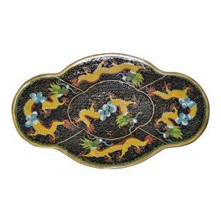 Chinese Dragon Motif Enamel Cloissone Platter